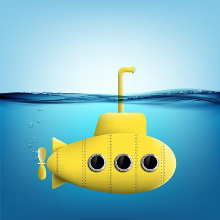 Yellow submarine with periscope underwater. Stock vector illustration. Vettoriali