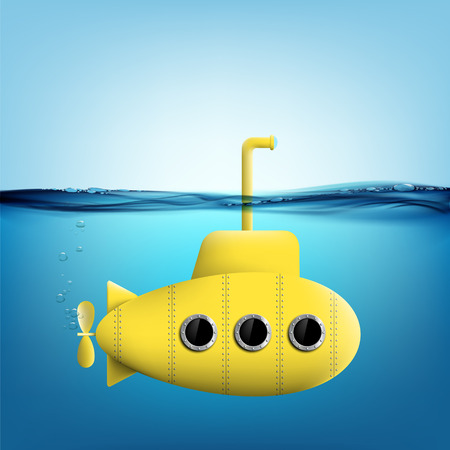 Yellow submarine with periscope underwater. Stock vector illustration. Ilustração