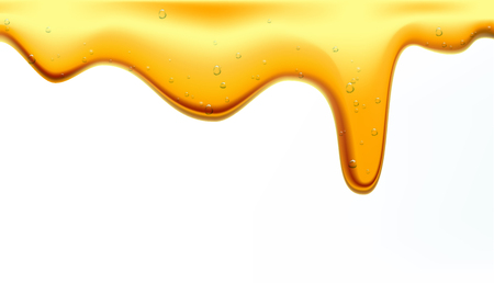 Honey flows. Drops of yellow syrup flow. A natural product and a sweet drink. Isolated on white background. Stock vector illustration.