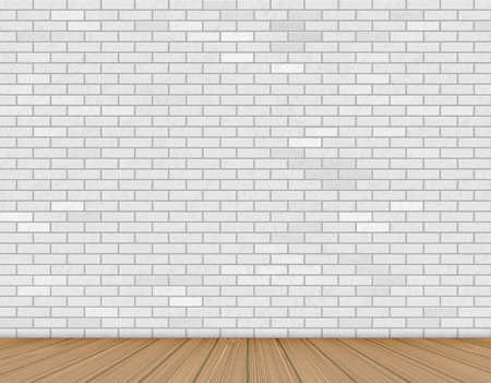 Wall of white brick and wooden floor. Background for advertising and presentation indoor. Stock vector illustration Ilustracja