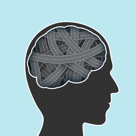 Menselijk hoofd met hersenen in de vorm van een weg. Voorraad vectorillustratie.