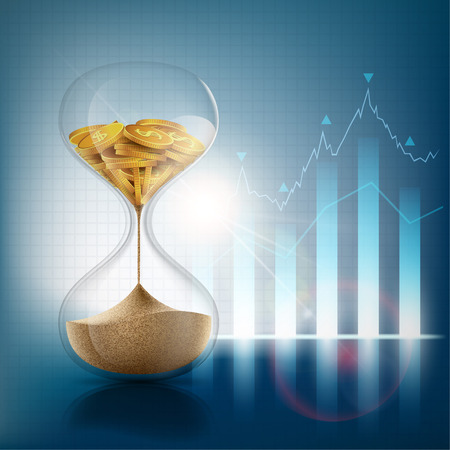 Hourglass with sand and gold coins. Financial graph and chart. Stock vector illustration.