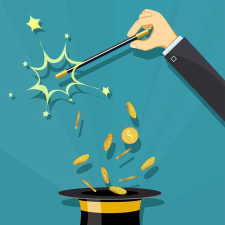 Toverstaf en hoed. Focus en illusie. Gouden munten en financiën. Voorraad vector cartoon illustratie.