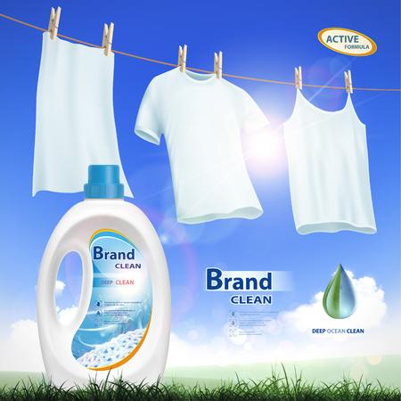 Plastic container met wasmiddel. Mock-up pakket met labelontwerp. Wassende witte kleren die op de vectorillustratie van de kabelvoorraad hangen.