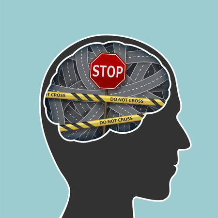 Human head with a brain. Prohibiting road sign stop and police line. Stock vector illustration.