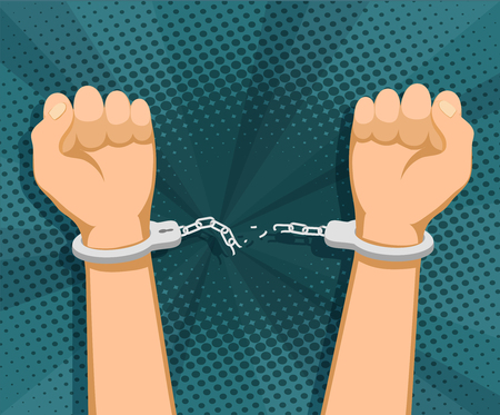 Human hands in handcuffs and torn chains Stock vector graphics. Illustration