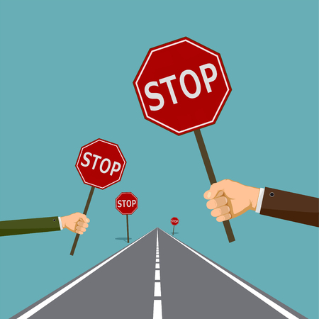 Human hands hold the road signs stop. Stock vector graphics. Illustration