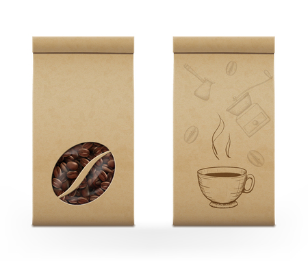 Coffee beans in the package. Background for food and drinks. Template for brand name. Stock vector illustration.