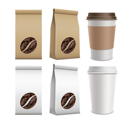 Set of package with coffee beans and plastic containers. Illustration