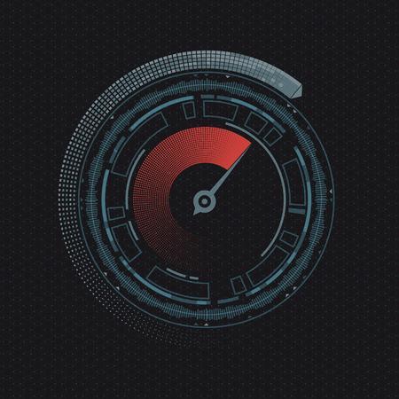 Design of HUD menu user interface. Round speedometer with an arrow. Futuristic dashboard. Stock vector geometric line illustration.