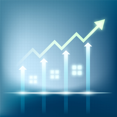 Sales of real estate. Growth of financial chart. Stock vector illustration.