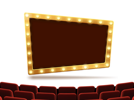 Frame with light bulbs on the stage of the cinema. Performance and presentation. Stock vector illustration.