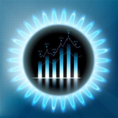 Ronde blauwe vlam van butaan met financiële grafiek en grafiek. Zaken doen met brandstof op de aandelenmarkt. Voorraad vectorillustratie