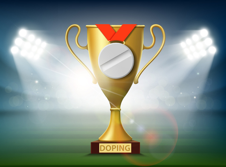 Medal in the form of a pill. Gold cup of the championship. Doping in sport. Stock vector Illustration.