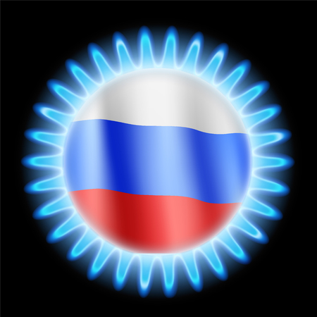 Round blue flame of stove with flag of Russia. Business with gas in the stock market. Stock vector illustration.