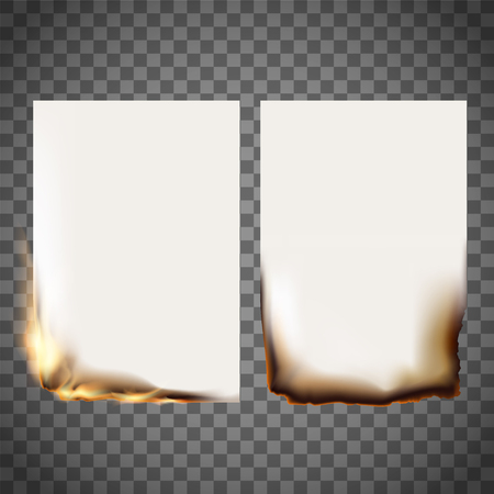 Set of burning sheet of paper and smoldering. Stock Vector Illustration on a transparent background. Vettoriali