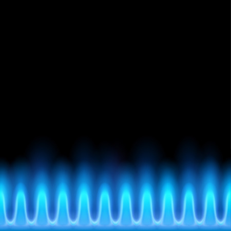 Blue flame of butane isolated on a black background.