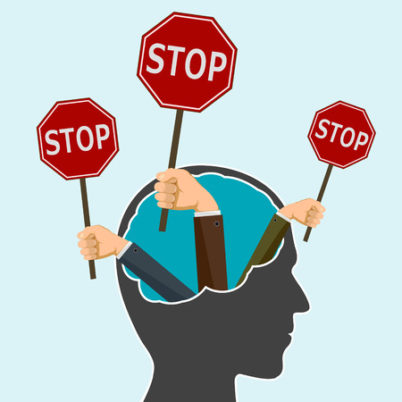 Hands holding a road sign stop in human head. Protest and prohibitions. Stock vector flat graphic illustration.