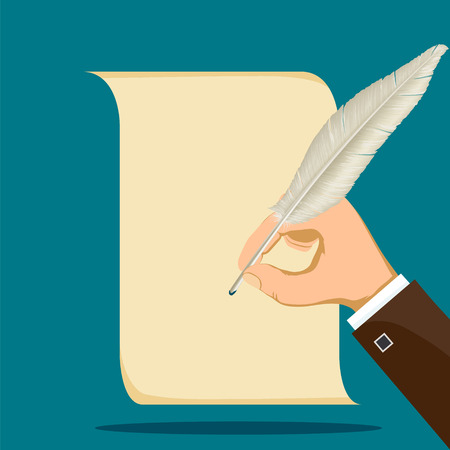 Human hand writes with a feather on a sheet of paper. Stock vector flat graphic illustration. Illustration