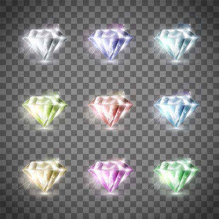 Set of precious multi-colored diamonds. Isolated on a transparent background. Stock vector illustration. Illustration