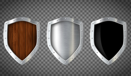 Set of military wooden and metal shield. Isolated on a transparent background. Stock vector illustration.