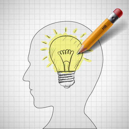 Pencil draws a light bulb in human head. Stock vector illustration. Illustration