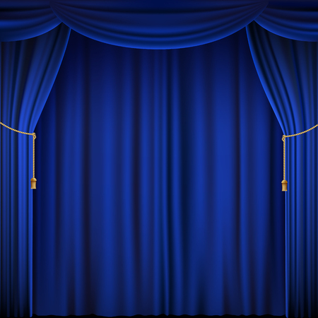 Blue theater curtain. Silk textile background. Stock vector illustration. Illustration