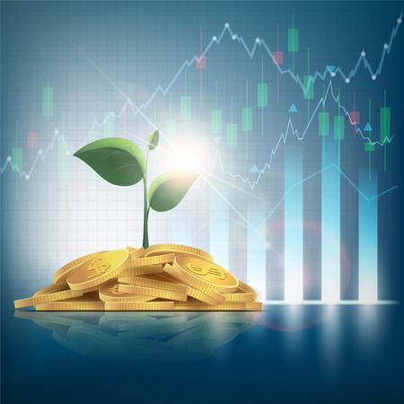 Stapel van gouden munten met groene plant op donkere achtergrond Stockfoto - 95333350