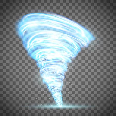 Glowing tornado with lightning. Illustration