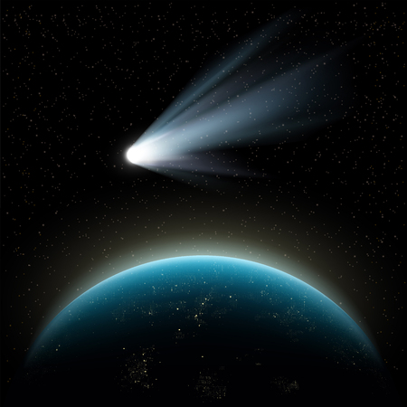 Planet earth and comet in outer space. Stock vector illustration.