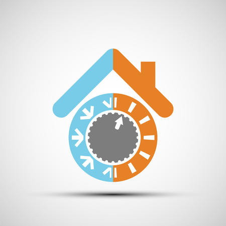 Icon climate control regulator. Switch toggle hot and cold temperatures. Design logo of smart home. Stock vector illustration.