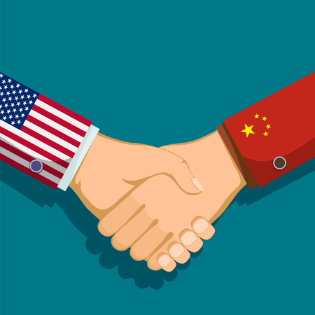 Handshake of two people. Policy between the USA and China. Stock vector illustration.