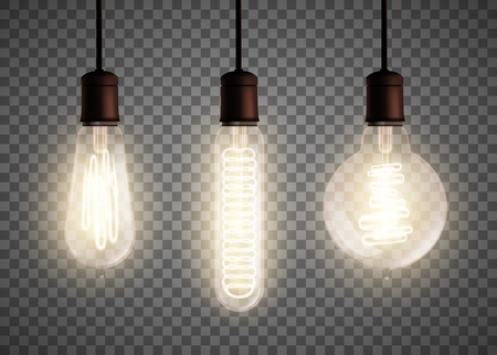 Set of light bulb glowing in the dark. 向量圖像