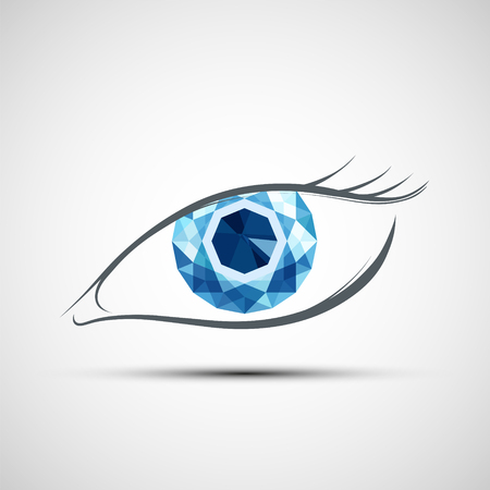 Human eye with diamond Icon.