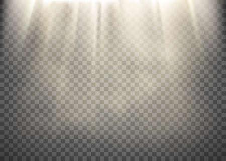 La luz del sol sobre un fondo transparente. Patrón de rayos de luz. Ilustración vectorial de stock