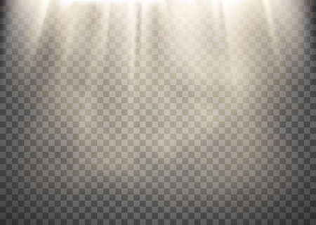 Sunlight on a transparent background. Light rays pattern. Stock vector illustration.