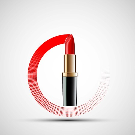 Icon red lipstick in the circle. Stock vector illustration. Çizim