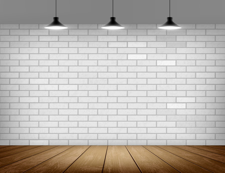 White brick wall and wooden floor. Background for advertising and presentation indoor. Empty template. Stock vector illustration