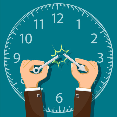 Human hand break the arrow from the clock. Stock vector flat graphic.  イラスト・ベクター素材