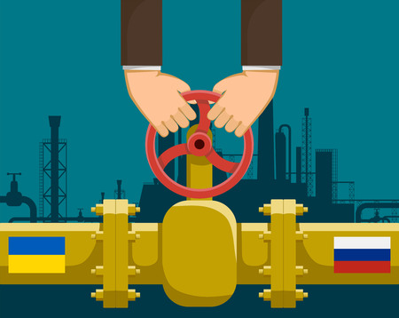 Human hands hold the valve. Business between Russia and Ukraine. Gas pipeline. Stock vector illustration.