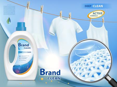 Imballaggi in plastica con detersivo per bucato. Mock-up pacchetto con design dell'etichetta. Lavare abiti bianchi appesi alla corda. Illustrazione vettoriale d'archivio