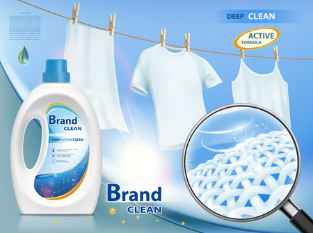 Plastic packaging with laundry detergent. Mock-up package with label design. Washing white clothes hanging on the rope. Stock vector illustration. Ilustração