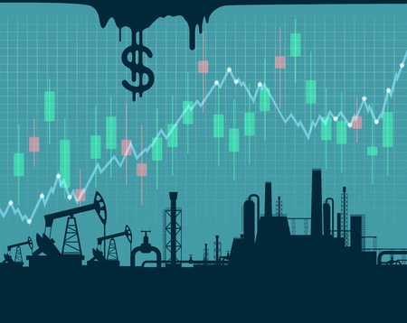 Extraction of crude oil. financial graphs and charts. Stock vector illustration.