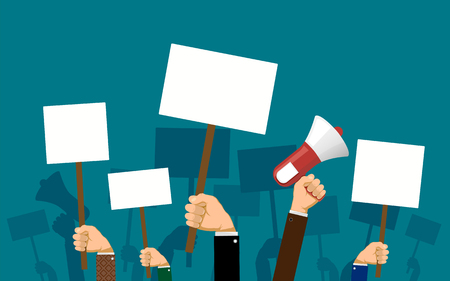 People hold banners and posters in their hands. Pickets and demonstrations. Strike of workers. Stock vector illustration.