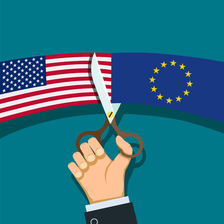 Human hand with scissors cuts the flag of USA and the European Union. Stock vector illustration.