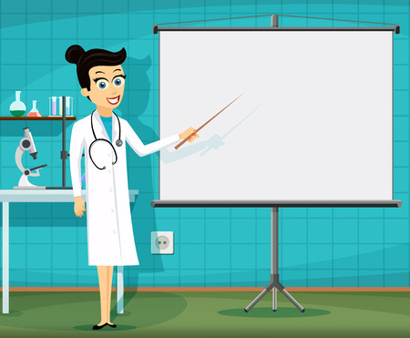 Woman doctor showing on the white board. Medical staff at the workplace. Stock vector illustration. Çizim