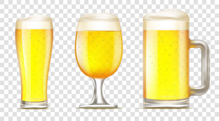 Set of glass of beer. Mug with alcohol on a transparent background. Stock vector illustration.