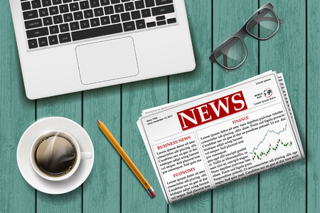 Newspaper with a cup of coffee, laptop and glasses on the wooden table. Stock vector illustration.