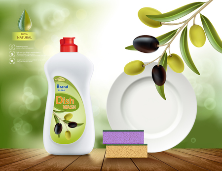 Dish washing liquid soap with the scent of olive template design Vectores
