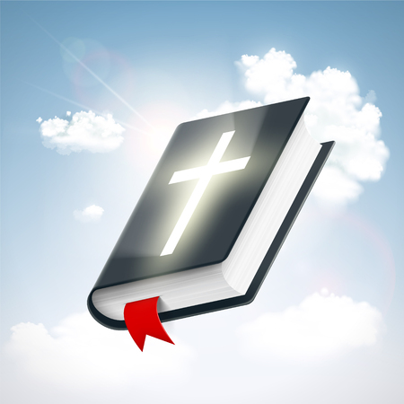 Holy Bible in the sky with clouds. Symbol of religion. Stock vector illustration.